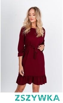 Gładka sukienka wiązana w pasie dół z falbaną sukienki.shop