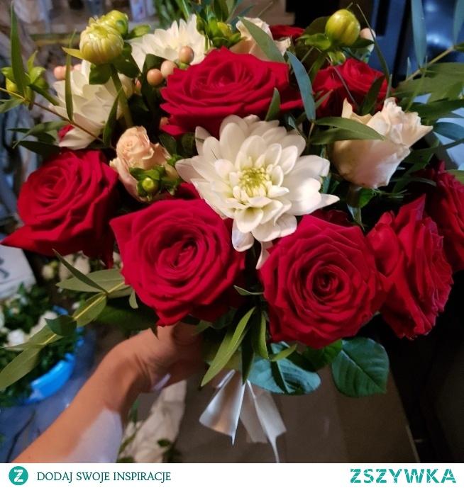 bukiet dalia, róża