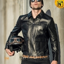 Cleveland Custom Black Leather Motorcycle Jacket CW809037   CWMALLS.COM