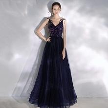 Uroczy Granatowe Sukienki N...