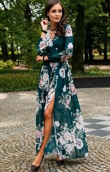 Długa sukienka w kwiaty Roc...