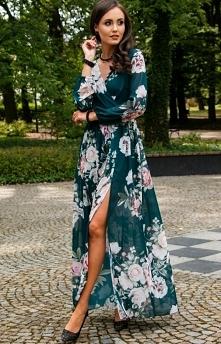 Stylowa sukienka maxi w kwi...