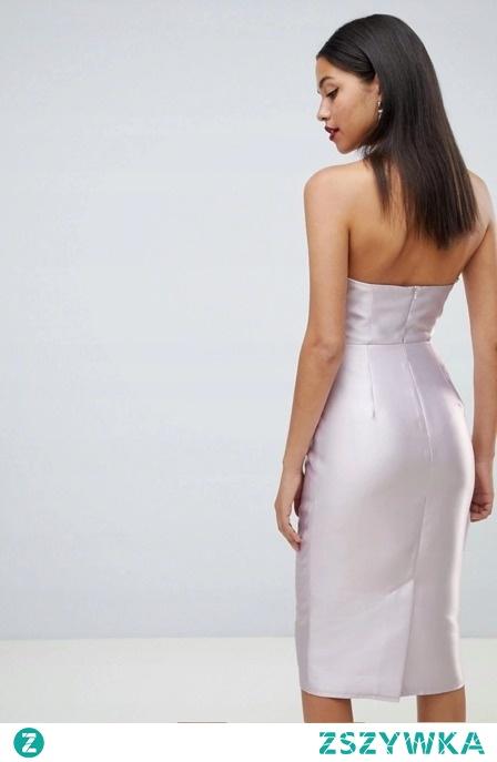 OŁÓWKOWA POŁYSKUJĄCA ELEGANCKA SUKIENKA MIDI sukienki.shop