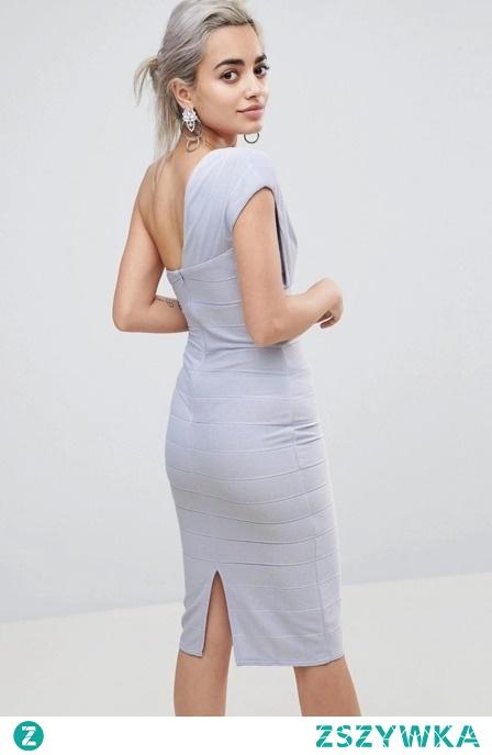 BANDAŻOWA OŁÓWKOWA SUKIENKA NA JEDNO RAMIĘ sukienki.shop