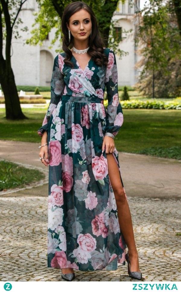Efektowna długa sukienka w kwiaty dostępna w sklepie Intimiti.pl