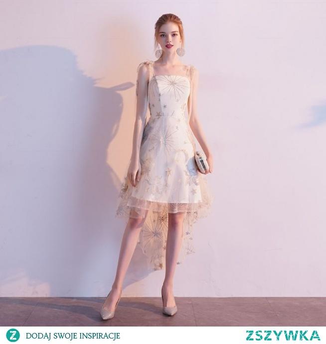 Stylowe / Modne Szampan Homecoming Sukienki Na Studniówke 2020 Princessa Spaghetti Pasy Z Koronki Gwiazda Bez Rękawów Bez Pleców Asymetryczny Sukienki Wizytowe