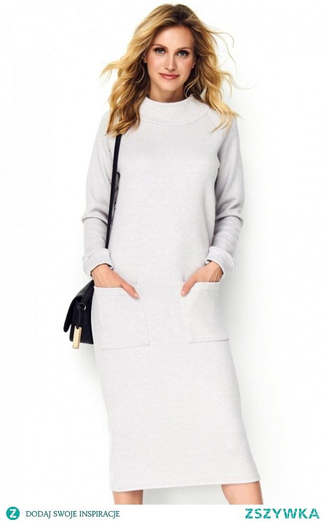Makadamia sukienka z kieszeniami szara M505