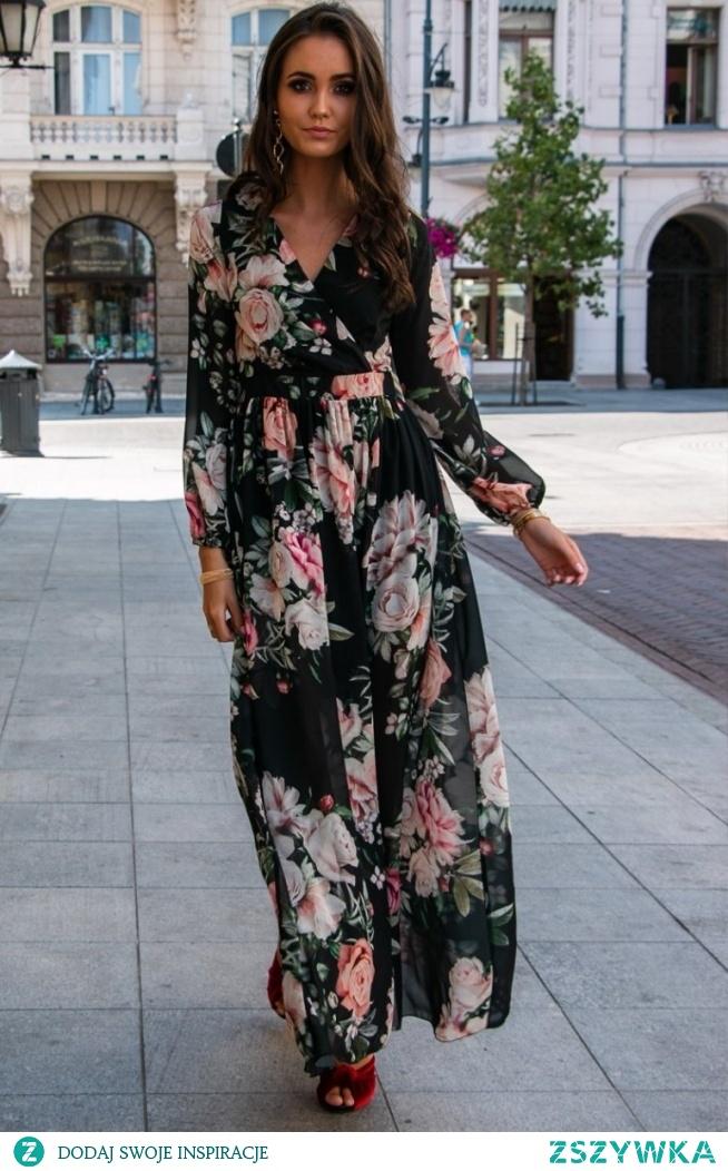 Roco Stylowa sukienka maxi w kwiaty 0219/D37
