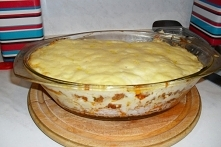 zapiekanka z ryżem i mięsem...