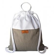 Plecak bawełniany biało beżowy