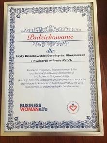 Podziękowanie za wsparcie przy tworzeniu kalendarza Businesswoman & life 2019