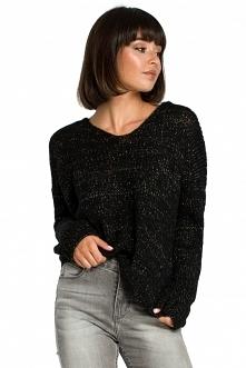 Luźny damski sweter z dekol...