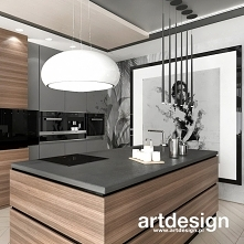 Projekt pięknej kuchni w drewnie i szarości | NEW PERSPECTIVE | Wnętrza apartamentu