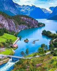 Piękny krajobraz Norwegii, ...