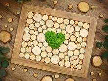 księga gości weselnych z plastrów drewna brzozowego + serce z naturalnego mch...