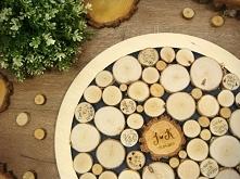 księga gości 3d z plasterków drewna, rustykalna pamiątka na lata, projekt i w...
