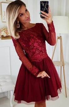 Bicotone Bordowa sukienka z...