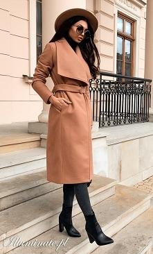 Elegancki ciepły płaszcz z ...