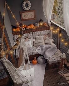 Mój jesienny balkon w aranżacji z dyniami. Praktycznie wszytko jest DIY