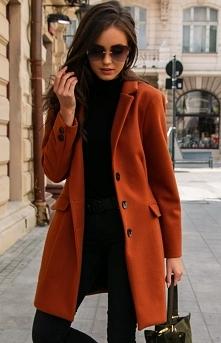 Wełniany płaszcz rudy Roco ...