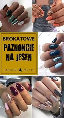 Jesienne Paznokcie z Brokat...