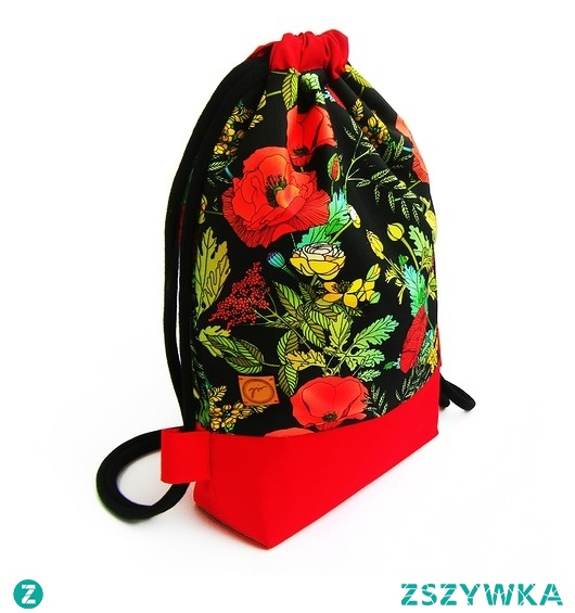 Damski plecak worek z motywem maków
