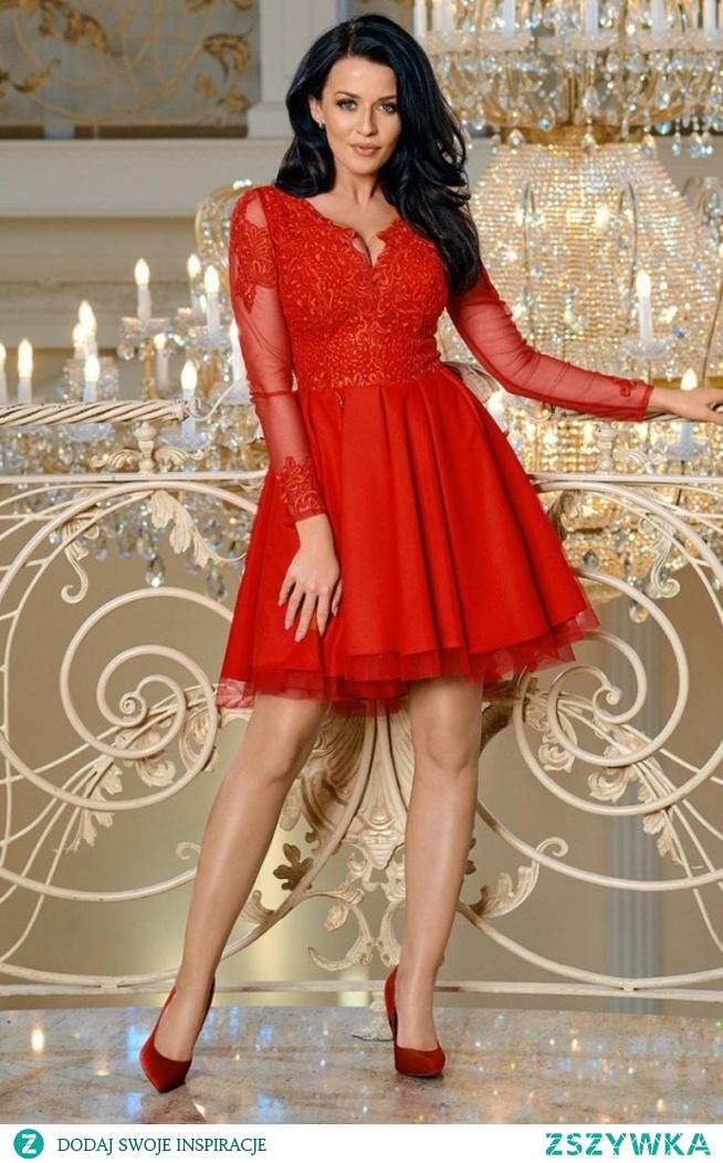 Bicotone Czerwona sukienka rozkloszowana 2160-02