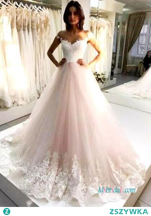 Różowa i biała na ramieniu # suknia balowa # suknia ślubna Model: H0589 (darmowa wysyłka na cały świat) Wyszukaj na stronie numer modelu, link w biografii