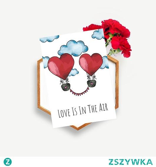 """Kartka na ślub """"Love is in the air"""""""