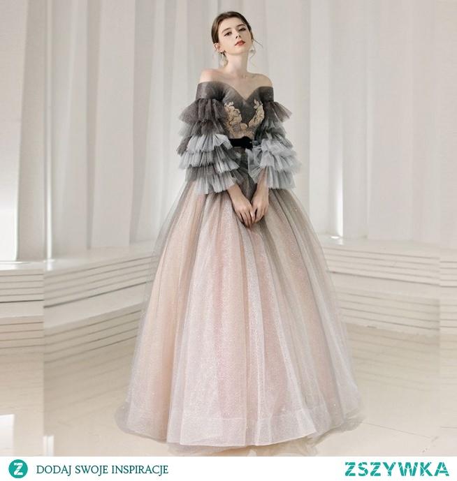 Eleganckie Różowy Perłowy Sukienki Na Bal 2020