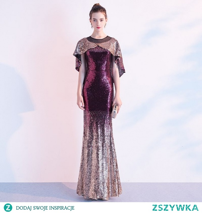 Błyszczące Gradient-Kolorów Sukienki Wieczorowe Z Szalem 2020 Syrena / Rozkloszowane Cekiny Wycięciem Kótkie Rękawy Długie Sukienki Wizytowe
