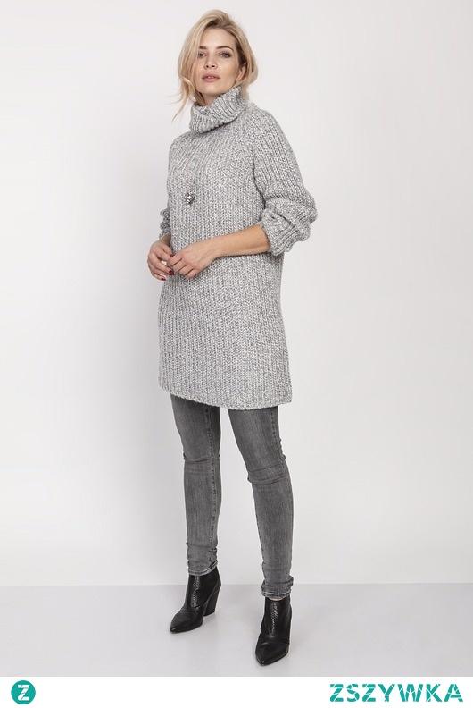 Dzianinowa sukienka, SWE193 szary MKM