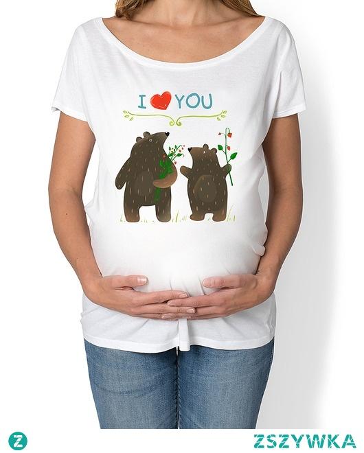 koszulka ciążowa. Zwierzęta leśne, misie