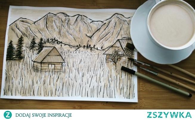 Malowane kawą... zapach kawy mocno trzyma się kartki...