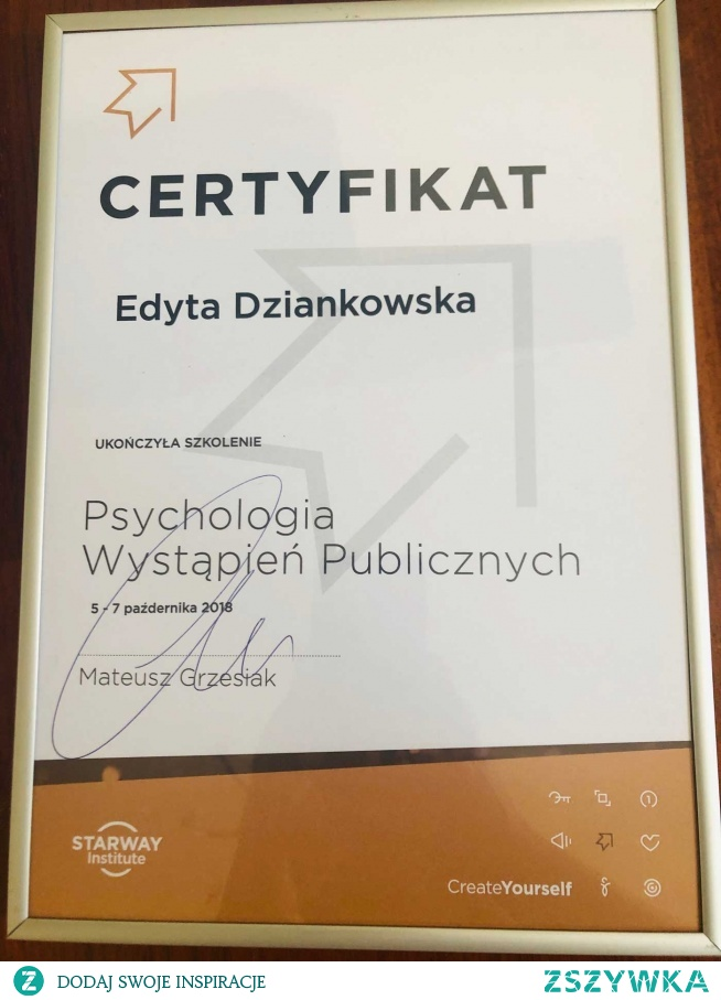Certyfikat ukończenia szkolenia – Psychologia Wystąpień Publicznych