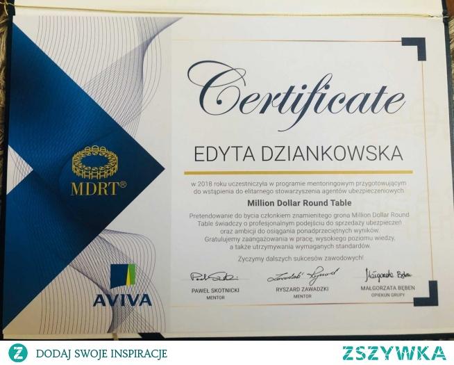 Certyfikat uczestnictwa w programie mentoringowym przygotowującym do MDRT