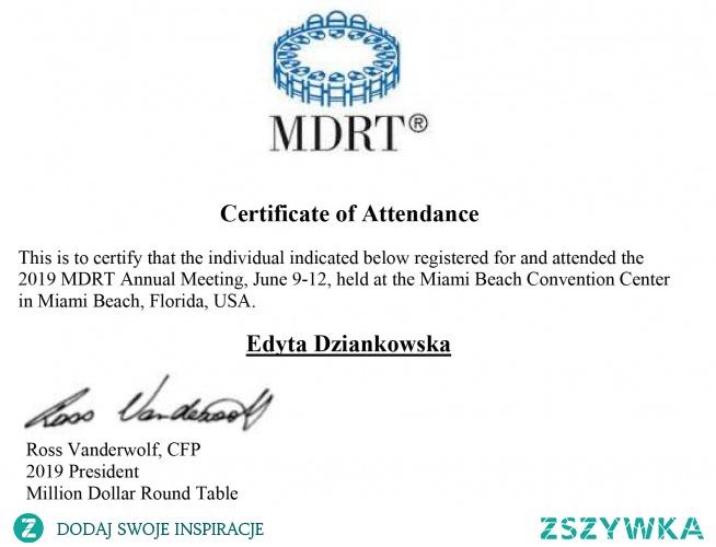 Certyfikat uczestnika – (MDRT) Million Dollar Round Table