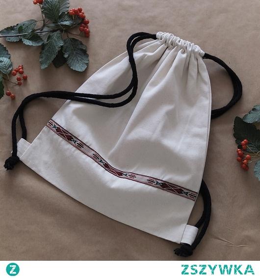 Plecak worek z niebarwionej bawełny etno I