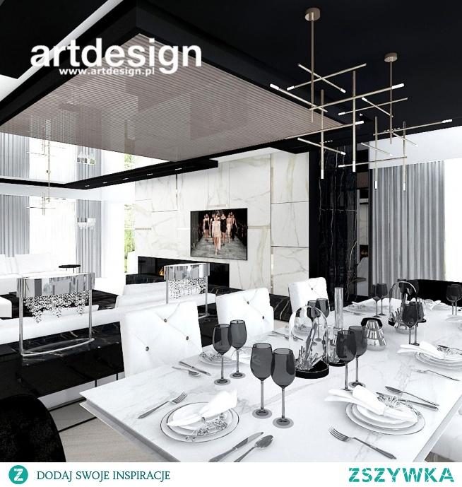 Nowoczesne, dynamiczne, kontrastowe wnętrze salonu z jadalnią | MAKE UP YOUR MIND | Wnętrza domu
