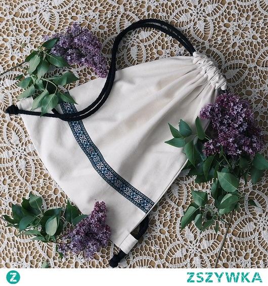 Plecak worek z niebarwionej bawełny etno II