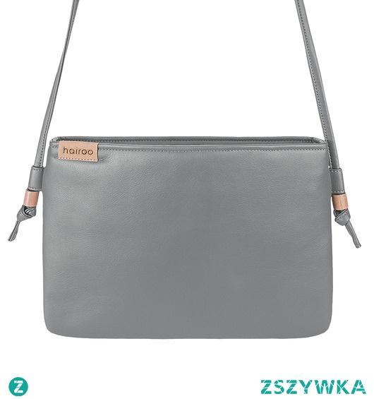Nodo Bag S szara mała kopertówka z paskiem