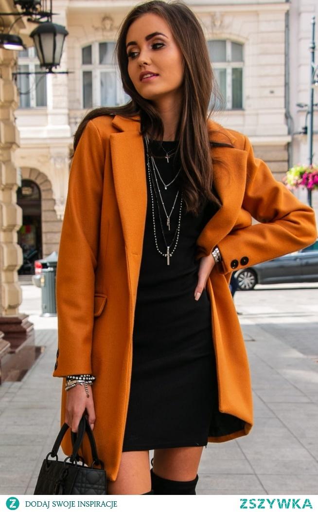 Wełniany płaszcz musztardowy Roco P012