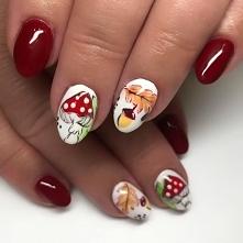 Jesienna stylizacja paznokci z grzybkami