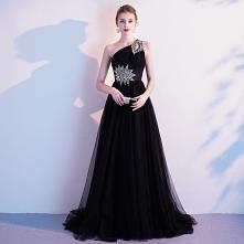 Elegancka Czarne Sukienki W...