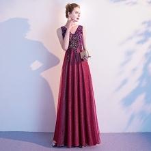Elegancka Burgund Sukienki ...