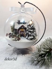 Bombka 3d zimowy krajobraz,średnica 12 cm. Zapraszam do zakupu :)