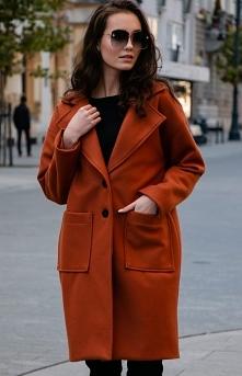 Wełniany płaszcz rudy alpak...