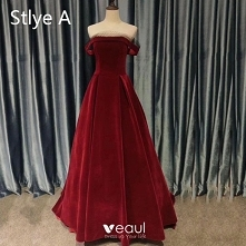 Vintage Burgund Sukienki Wi...