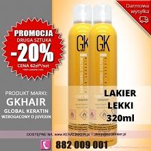 Promocja Global Keratin GKhair lakier do wlosow słaby 320ml light hold hairsp...