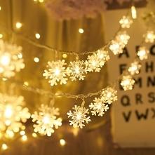 Ozdoby świąteczne śnieżynka LED łańcuchy świetlne